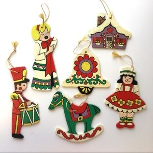 "Hand Painted Wood Christmas Ornaments ""Belle"" Lot"